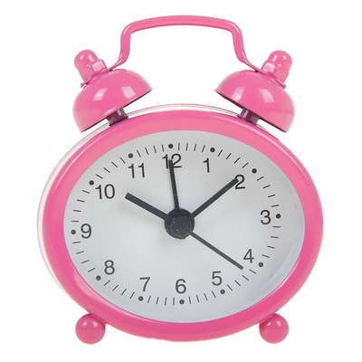 """Будильник """"Классика"""", овальный, розовый, белый циферблат 7х5.5 см"""