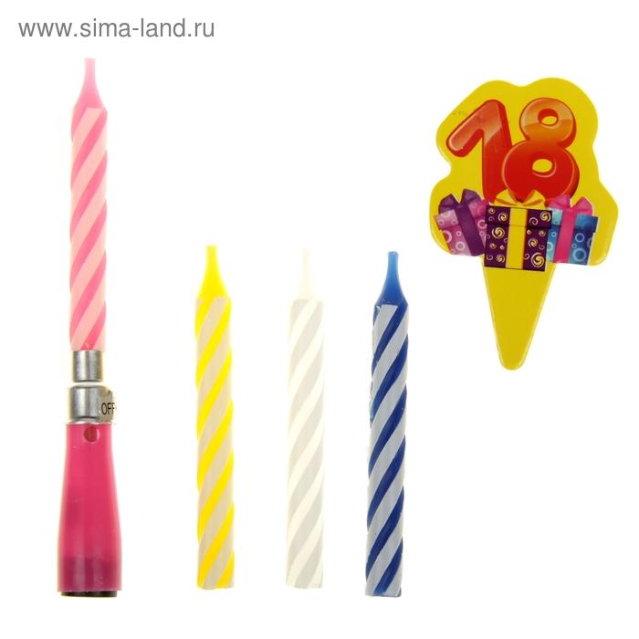 """Свеча музыкальная с картонной вкладкой """"18 лет"""" + 3 свечи"""