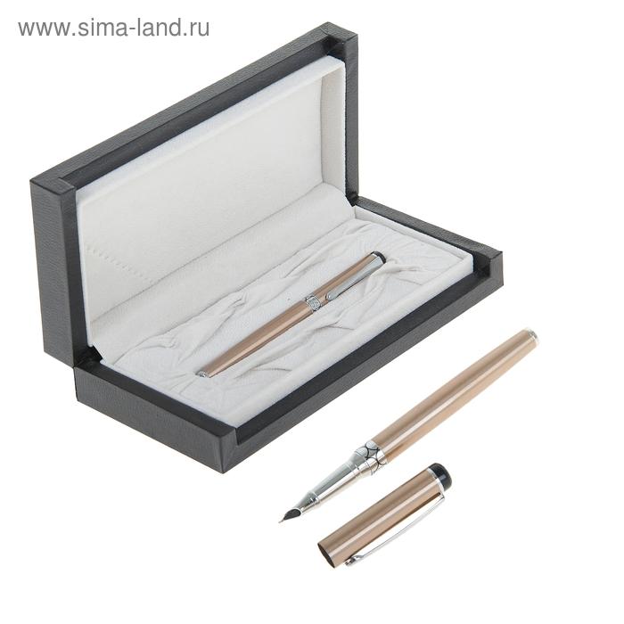Ручка подарочная перьевая в кожзам футляре Стиль корпус бронзовый с серебристыми вставками