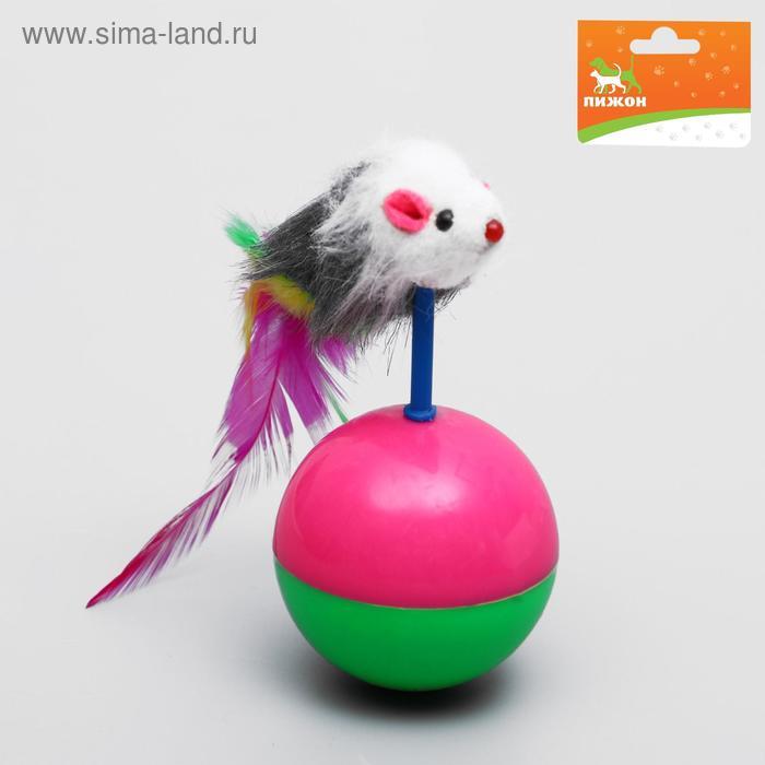 Мышь-неваляшка на шаре, 12 х 5 см, микс цветов