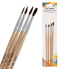 Набор кистей пони круглые 4 штуки (№1,2,3,4) с деревянными ручками на блистере