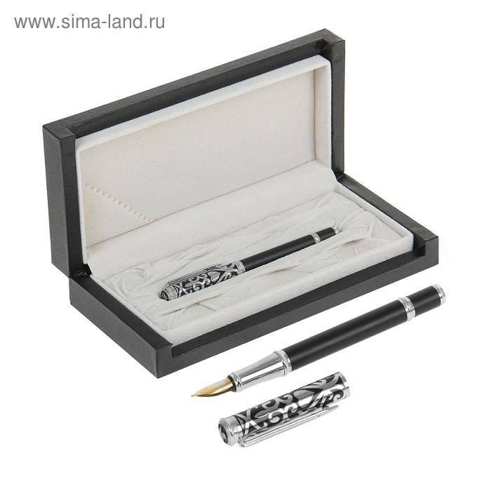 Ручка подарочная перьевая в кожзам футляре Узоры корпус черный с серебристыми вставками