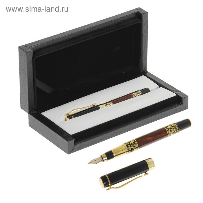 Ручка подарочная перьевая в кожзам футляре VIP черная с вставками под камень с золотым узоро