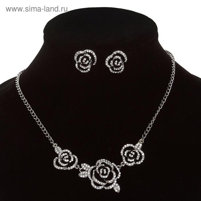 """Набор 2 предмета: серьги, колье """"Цветы"""" розы, цвет черно-белый в серебре"""