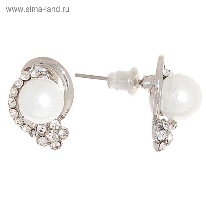 """Серьги """"Жемчуг в алмазной крошке"""", цвет белый в серебре"""