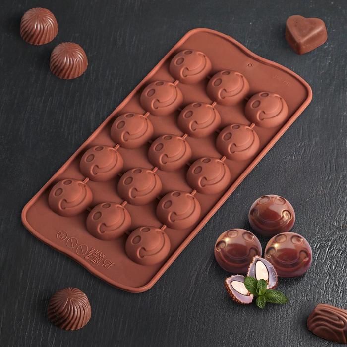 """Форма для льда и шоколада """"Шарик смайл"""", 15 ячеек, цвета МИКС"""