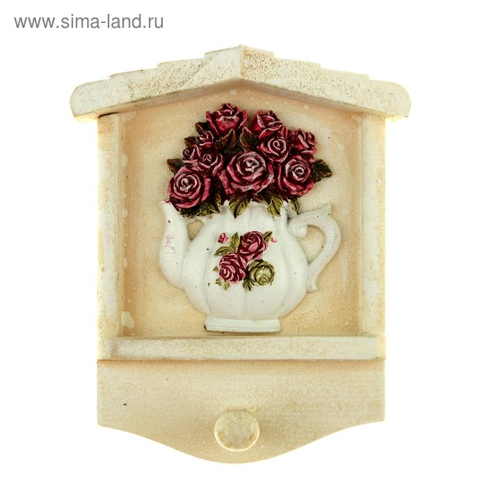 """Крючок декоративный """"Розы в чайничке"""""""