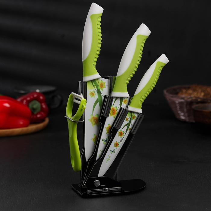 Набор кухонный на подставке «Цветок солнца», 4 предмета: ножи 17 см, 14 см, 12 см, овощечистка, цвет зелёный - фото 1582634