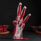 """Набор кухонный """"Роза любви"""", 4 предмета на подставке: 3 ножа с антиналипающим покрытием, лезвия 12 см, 14 см, 17 см, овощечистка"""