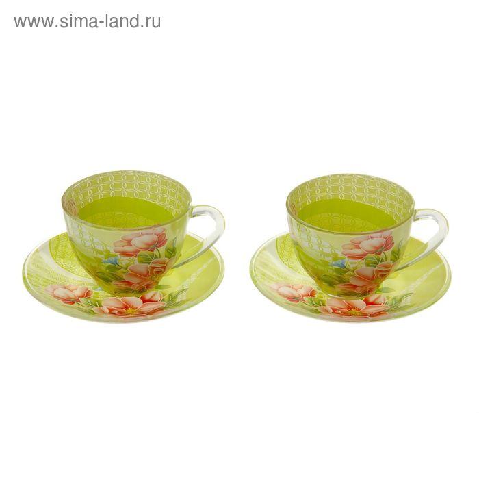 "Сервиз чайный ""Июнь"", 4 предмета: 2 чашки 220 мл, 2 блюдца"