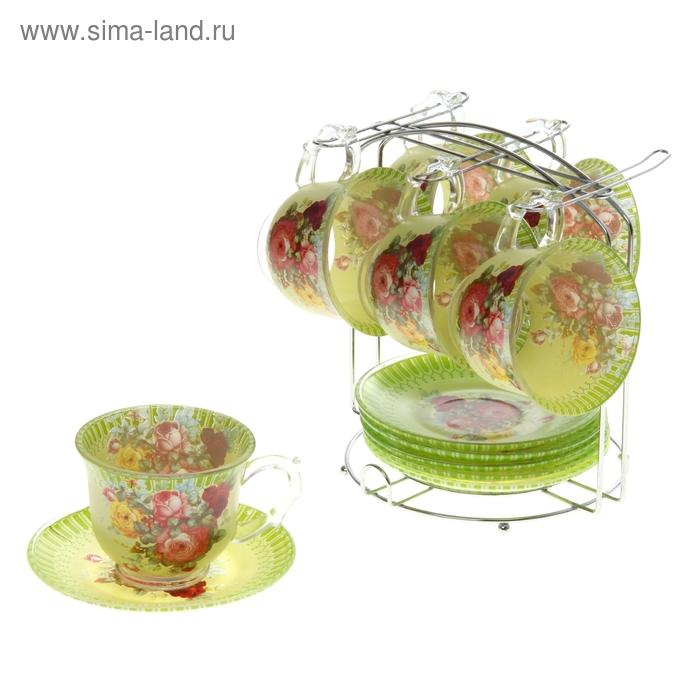 """Сервиз чайный """"Карусель цветов"""", 12 предметов на подставке: 6 чашек 220 мл, 6 блюдец"""