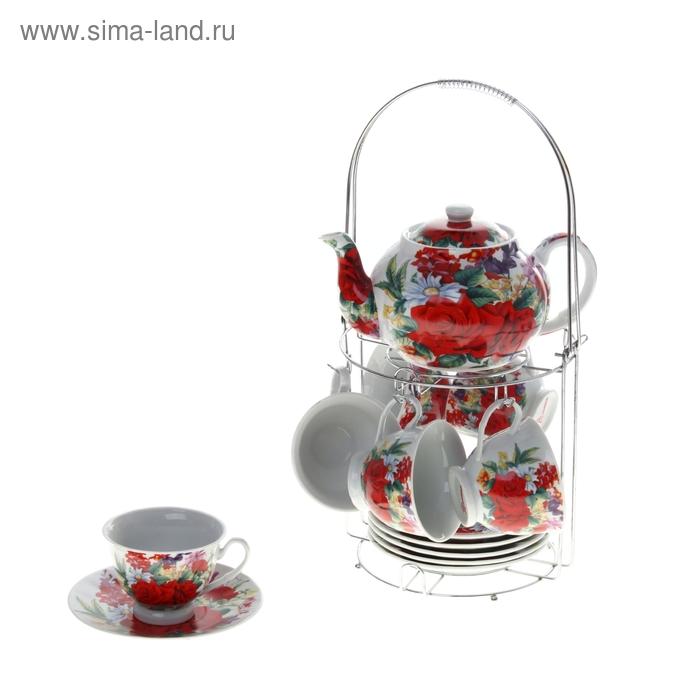 """Сервиз чайный """"Красный всплеск"""", 13 предметов на подставке: 6 чашек 220 мл, 6 блюдец, чайник 800 мл"""