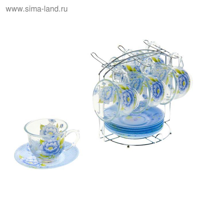 """Сервиз чайный """"Голубая фантазия"""", 12 предметов на подставке: 6 чашек 220 мл, 6 блюдец"""