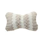 Ортопедическая подушка на подголовник кресла текстиль с рисунком сетка, бежево-серый