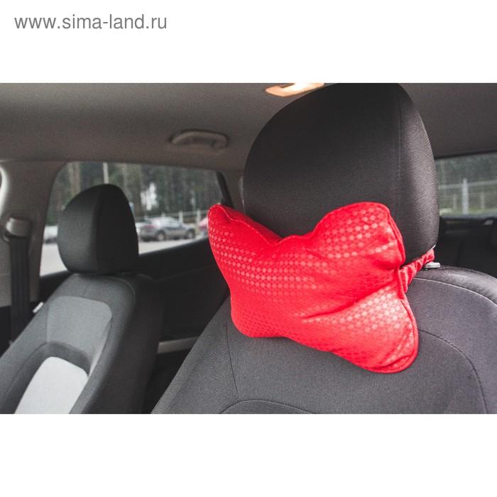 Ортопедическая подушка на подголовник кресла текстиль, пиксели, красный