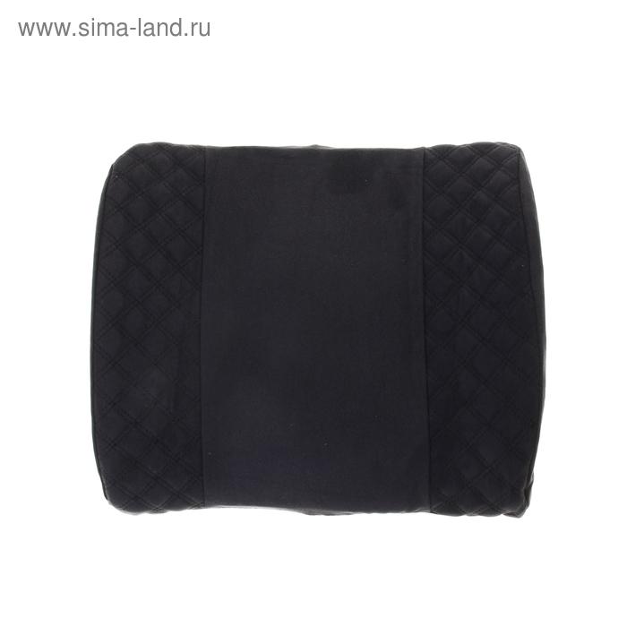 Ортопедическая подушка для поясницы на спинку сиденья черная Ромб черная