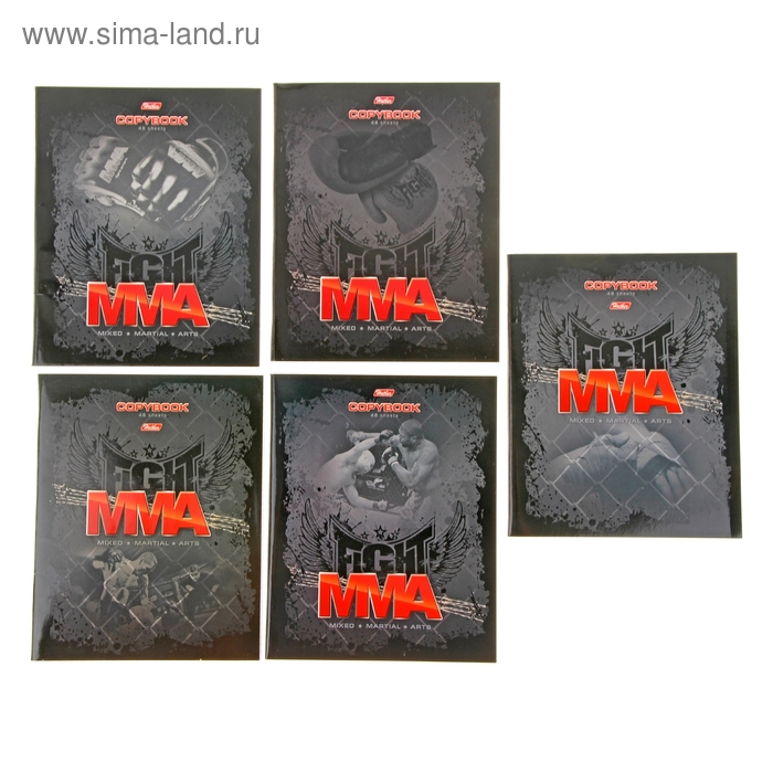 Тетрадь 48 листов клетка MMA Бои без правил картонная обложка, выборочный лак, 5 видов МИКС