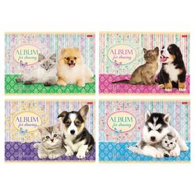 Альбом для рисования А4, 40 листов на скрепке «Маленькие друзья», обложка картон 185г/м2, блок офсет 100 г/м2, 5 видов МИКС