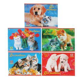 Альбом для рисования А4, 12 листов на скрепке «Верные друзья», обложка картон 185 г/м2, блок офсет 100 г/м2, 5 видов, МИКС
