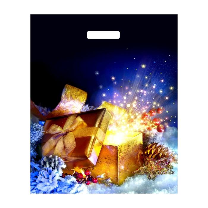 """Пакет """"Новогодняя коробочка"""" полиэтиленовый, с вырубной ручкой, 39х47,5 см, 60 мкм"""