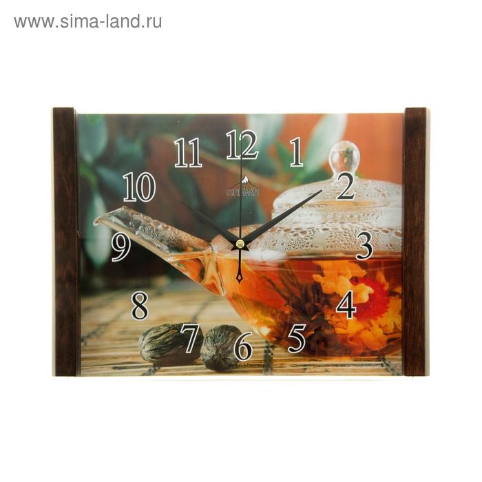 """Часы настенные прямоугольные """"Олимп"""", чайничек"""