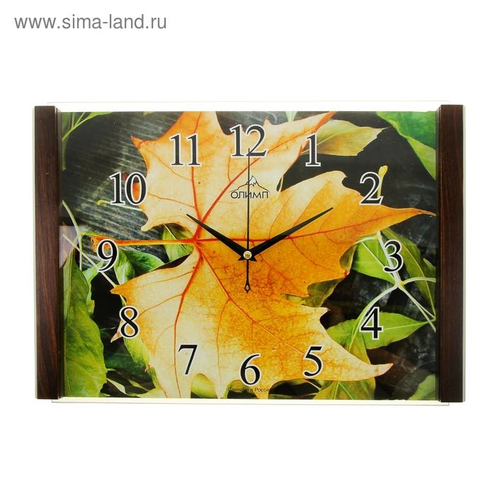 """Часы настенные прямоугольные """"Олимп"""", кленовый лист"""