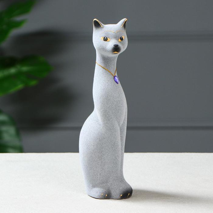 """Копилка """"Кошка Мурка"""", покрытие флок, серая, 28 см"""