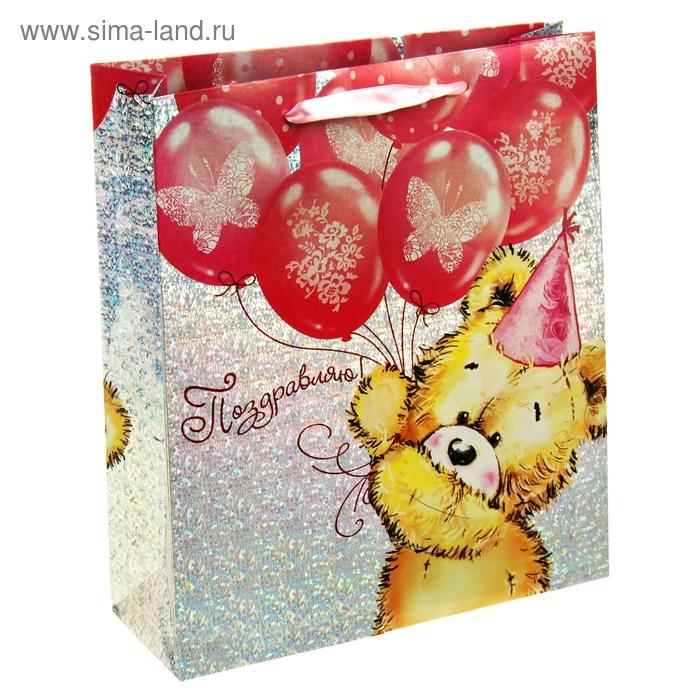"""Пакет подарочный голография """"Мишка поздравляю"""", 23 х27 см"""