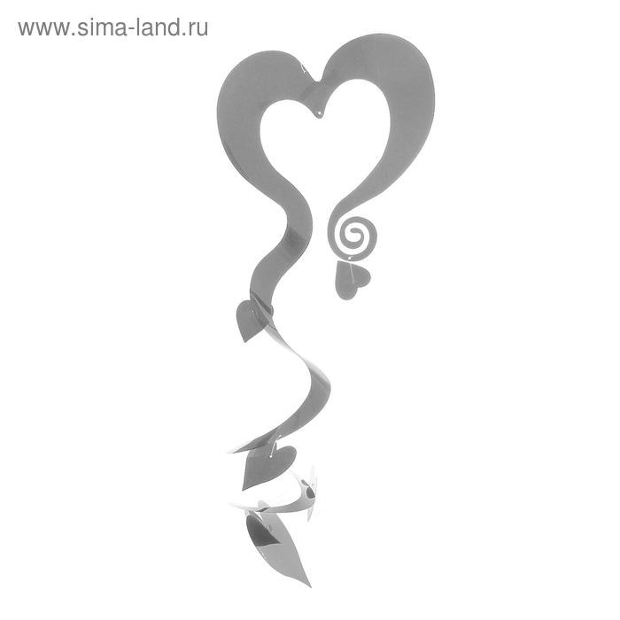 """Спираль """"Гирлянда сердец"""", цвет: серебристый"""