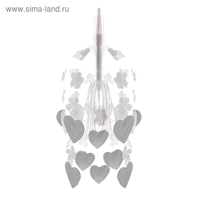 "Каскад на подвесе ""Сердца любви"", белые сердца"
