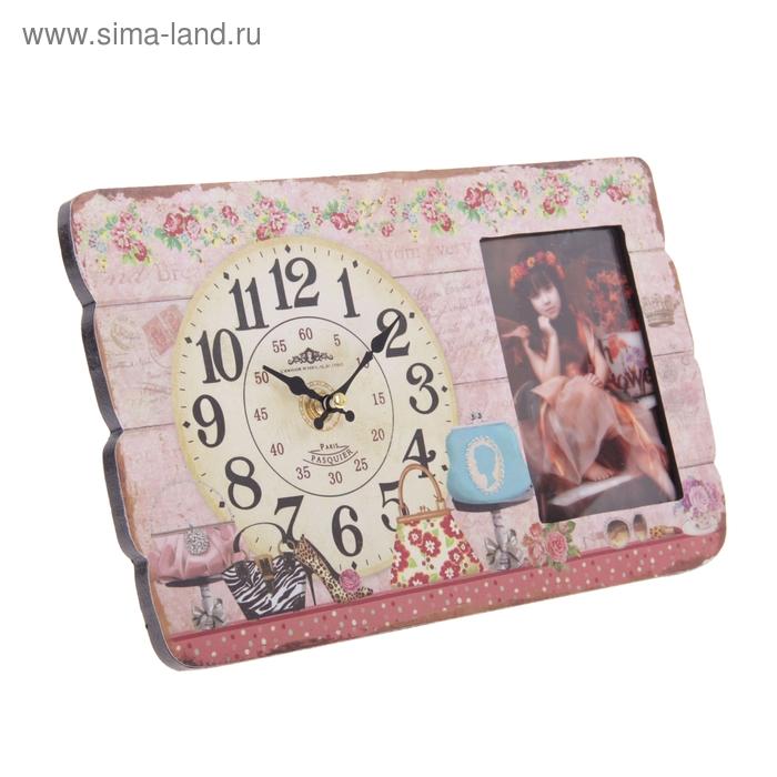 Часы настольные серия Ретро 1фоторамка (фото 12х8см) Женские штучки 19*30см