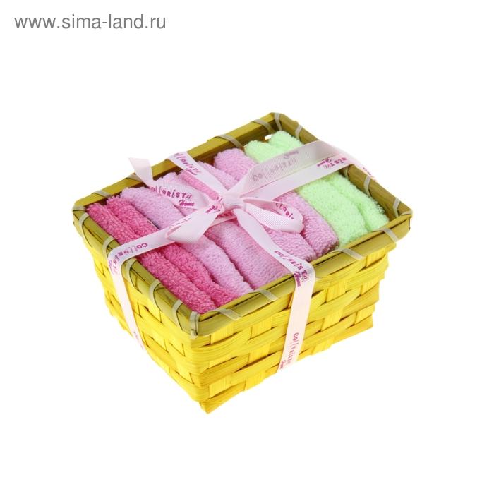 "Набор полотенец в корзинке ""Collorista"" Yellow-green 30х30шт - 4 шт, хлопок"
