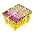 "Набор полотенец в корзинке ""Collorista"" Yellow-rose 30х30шт - 4 шт, хлопок"