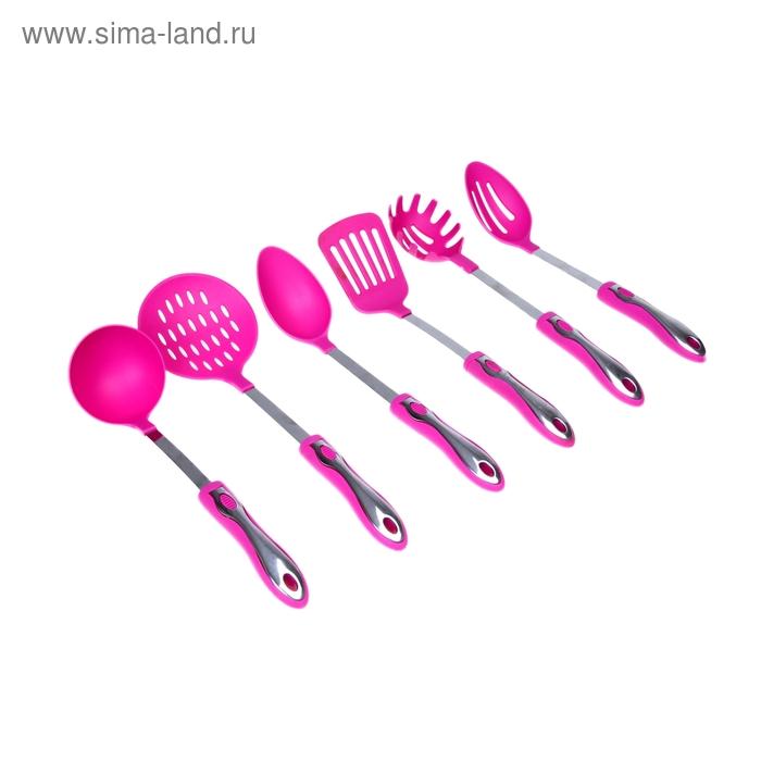 """Набор кухонных инструментов """"Монро"""", 6 предметов на подставке, цвета МИКС"""