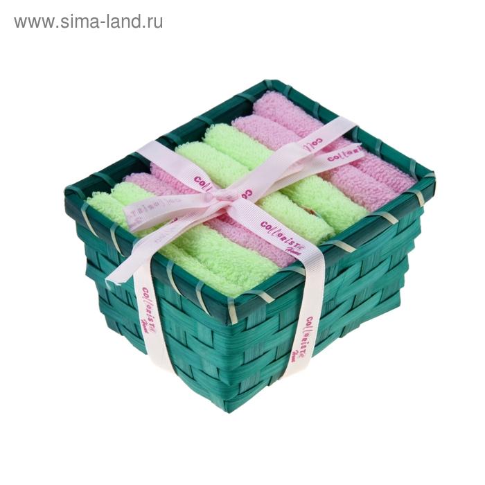 """Набор полотенец в корзинке """"Collorista"""" Mint-pink 30х30шт - 4 шт, хлопок"""