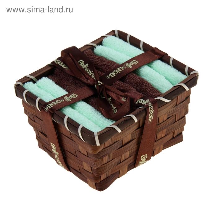 """Набор полотенец в корзинке """"Collorista"""" Chocolate-pistachio 30х30шт - 4 шт, хлопок"""