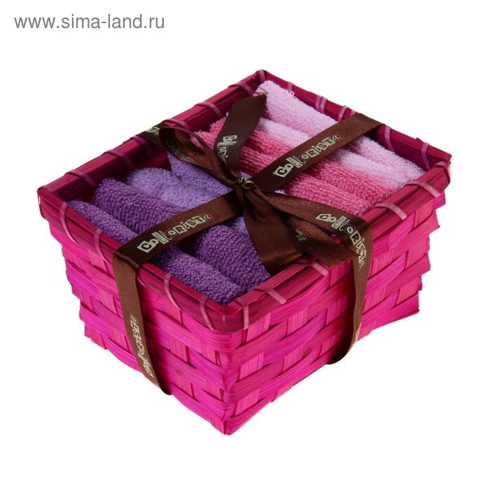 """Набор полотенец в корзинке """"Collorista"""" Pink-violet 30х30шт - 4 шт, хлопок"""