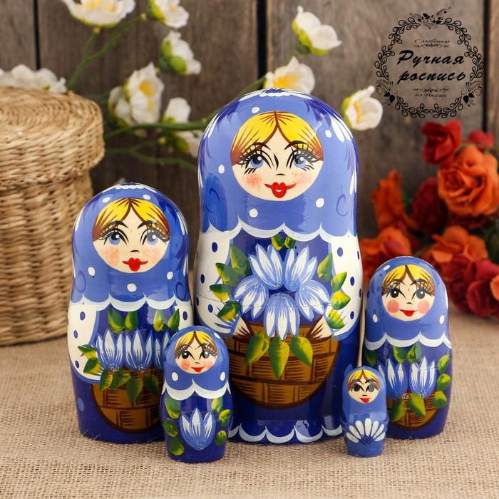 Матрёшка «Подснежники в корзине», голубой платок, 5 кукольная, 17 см