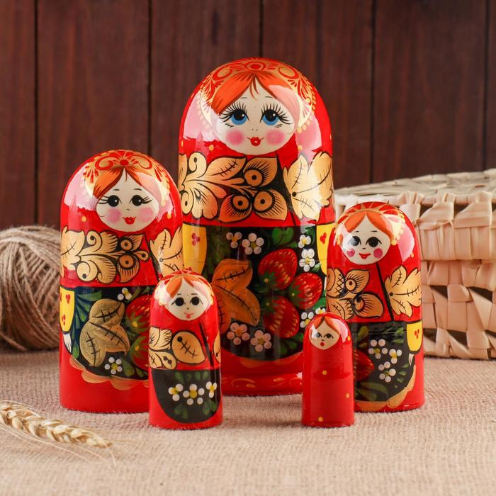 Матрёшка «Хохлома», красный платок, 5 кукольная, 17 см