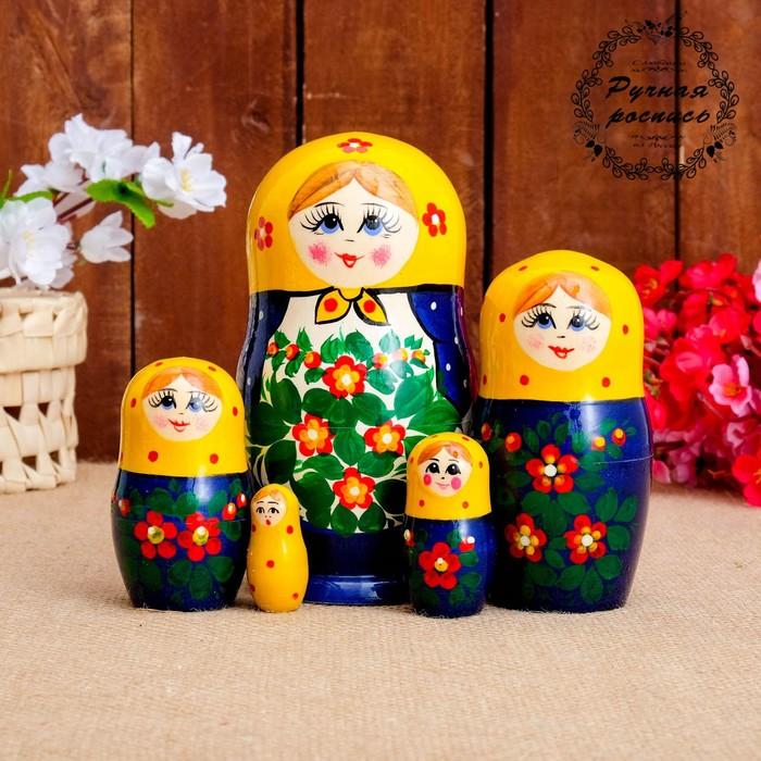 Матрешка «Фартук», жёлтый платок, 5 кукольная, 17 см
