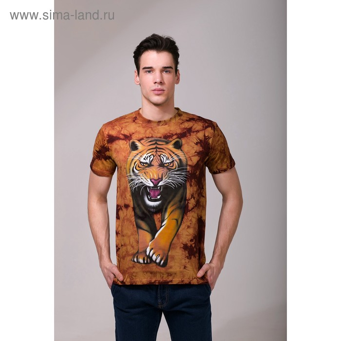 Футболка мужская Collorista 3D Tiger, размер L (48), цвет коричневый