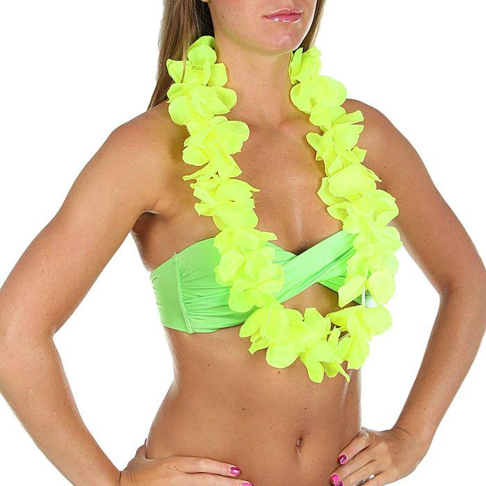 """Гавайское ожерелье """"Лепестки ириса"""", цвет лимонный"""