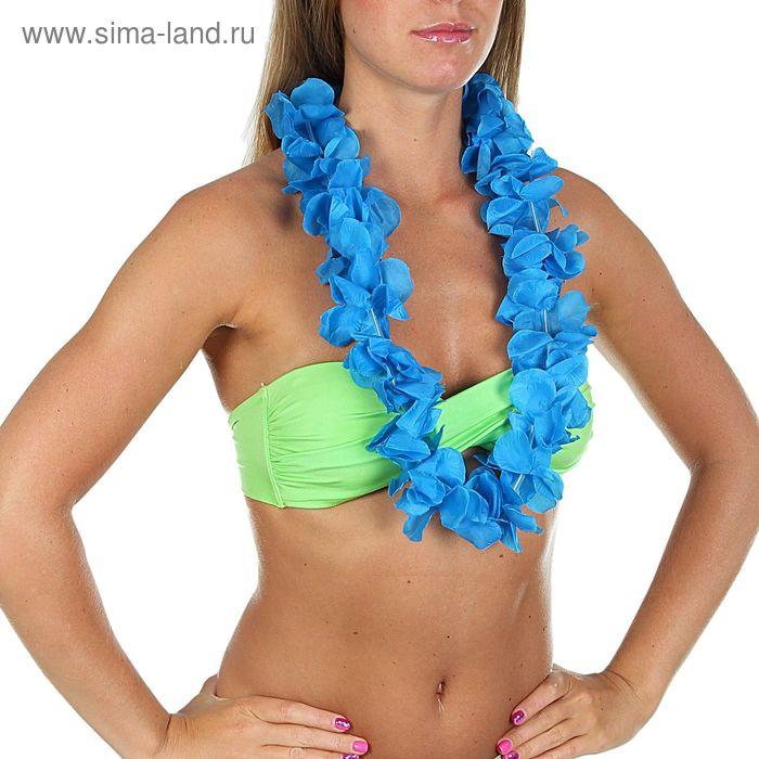 """Гавайское ожерелье """"Лепестки ириса"""", цвет синий"""