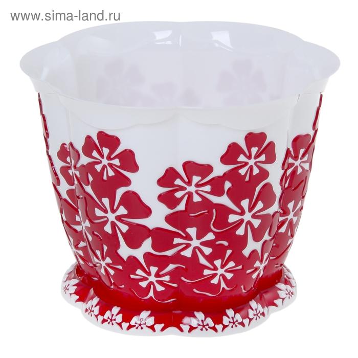 """Горшок для цветов 1,5 л """"Камелия"""", поддон, цвет красный"""