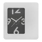 """Часы настенные прямоугольные """"Хай-тек"""" с подставкой, рама хром, циферблат чёрный"""