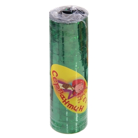 Серпантин, набор 18 катушек, блестящий, с узором, цвет зелёный в Донецке