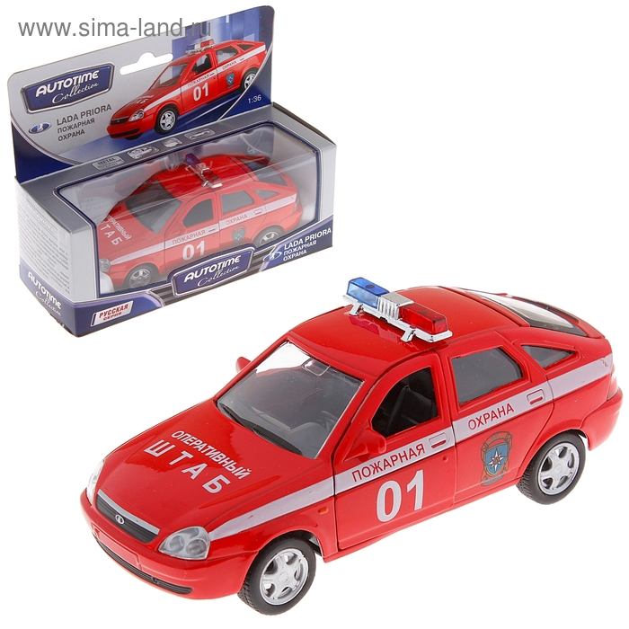 "Модель машины пожарная охрана ""Lada Priora"", масштаб 1:36"