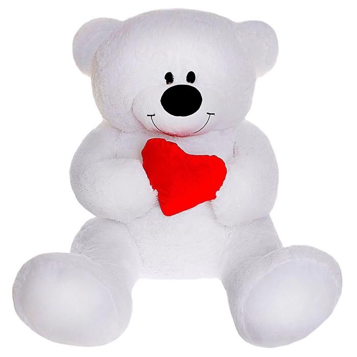 Мягкая игрушка «Мишка» с сердцем, 105 см, цвет белый