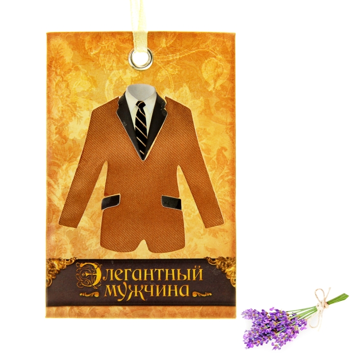 """Аромасаше с текстильной вставкой """"Элегантный мужчина"""", аромат лаванды"""