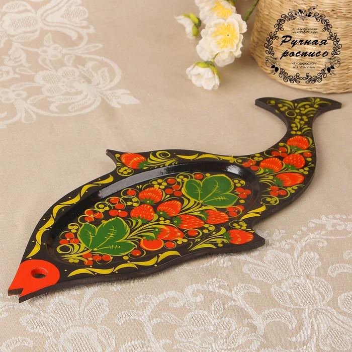 Сухарница «Рыба», 39×17 см, хохлома